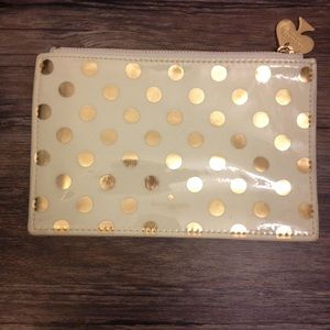 Kate Spade cream and gold dot pencil pouch